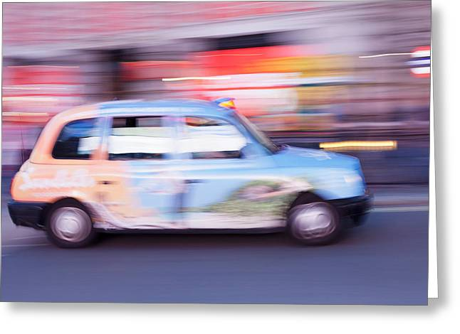 Taxi On Road At Night, Piccadilly Greeting Card
