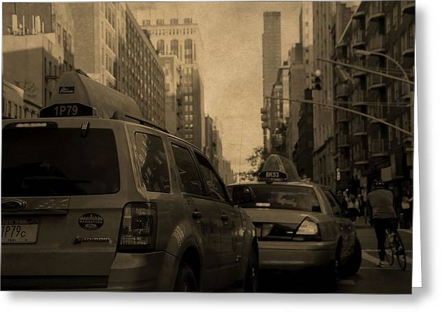Taxi Traffic Jam In New York City Greeting Card by Dan Sproul
