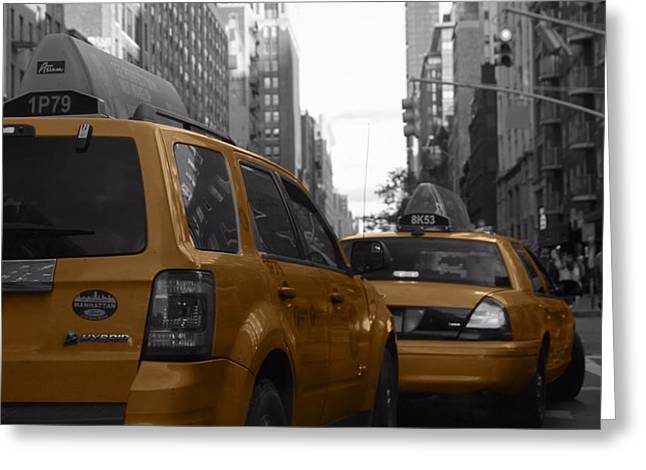 Taxis And Bikes In New York City Greeting Card by Dan Sproul