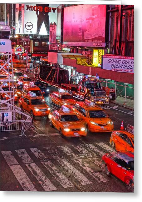 Taxis In Times Square Greeting Card
