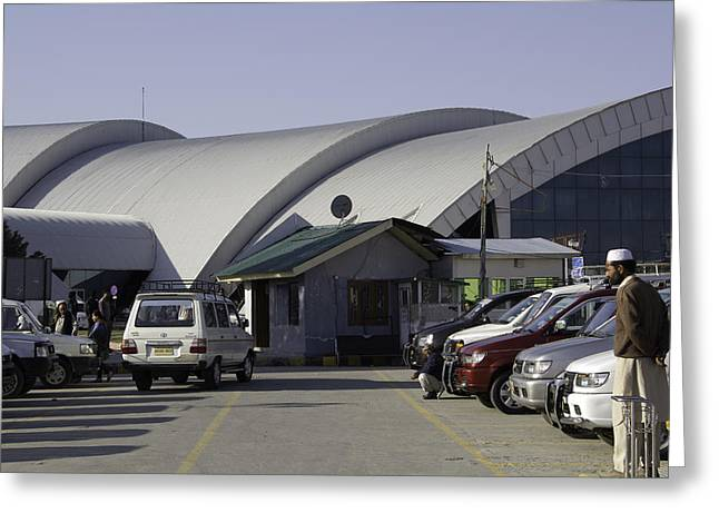 Taxis Lined Up Outside The Srinagar Airport In India Greeting Card by Ashish Agarwal
