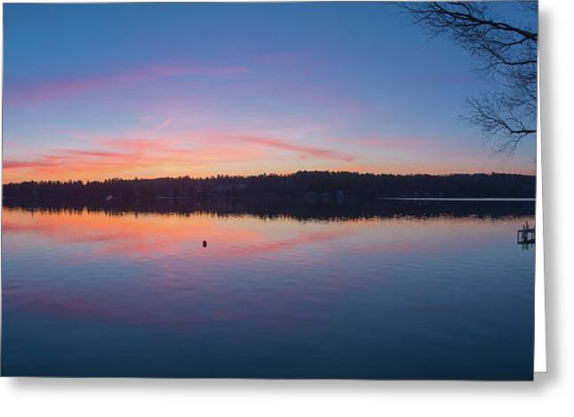 Taylor Pond With Dock At Sunset Greeting Card by Panoramic Images