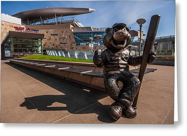 T.c. Statue And Target Field Greeting Card by Tom Gort