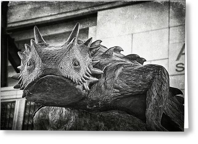 Tcu Horned Frog Bw Greeting Card