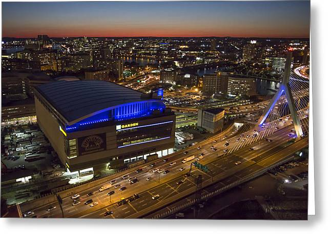Td Garden At Night. Greeting Card by Dave Cleaveland