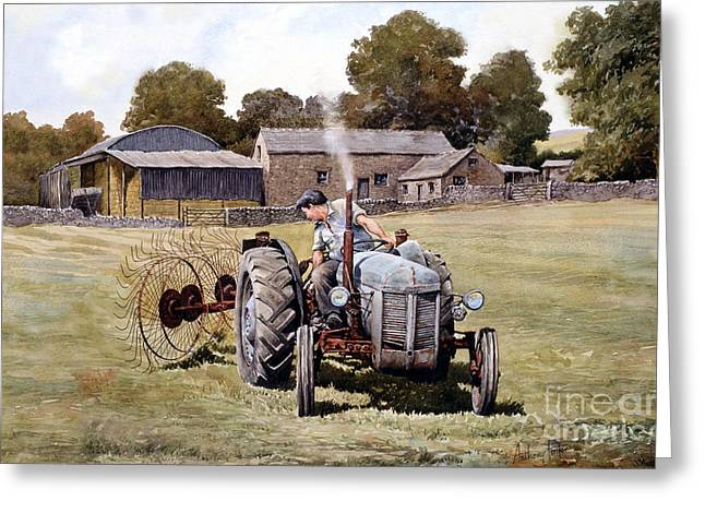 Te20-fergy In The Fields Greeting Card by Anthony Forster