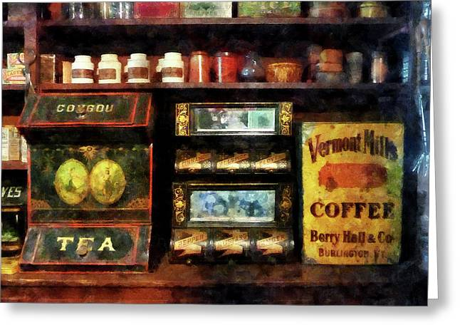 Caterer Greeting Cards - Tea and Coffee Greeting Card by Susan Savad