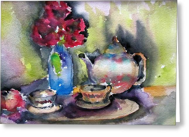 Tea And Flowers Greeting Card