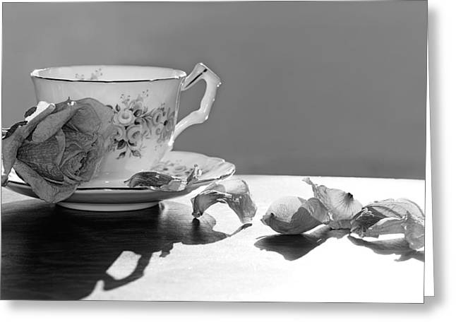 Tea And Roses Still Life Greeting Card by Lisa Knechtel