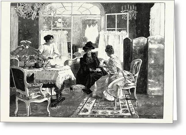 Tea And Scandal, In The Salon Des Champs Elysees Greeting Card