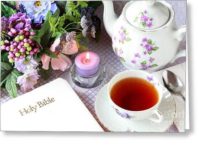 Tea And Scripture Greeting Card by Pattie Calfy