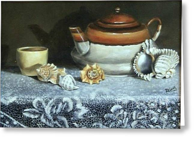 Tea At The Sea Greeting Card by Patricia Lang