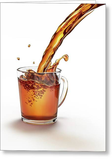Tea Being Poured Into A Glass Greeting Card