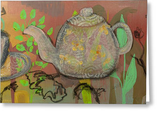 Tea Blossoms Greeting Card by Robin Maria Pedrero
