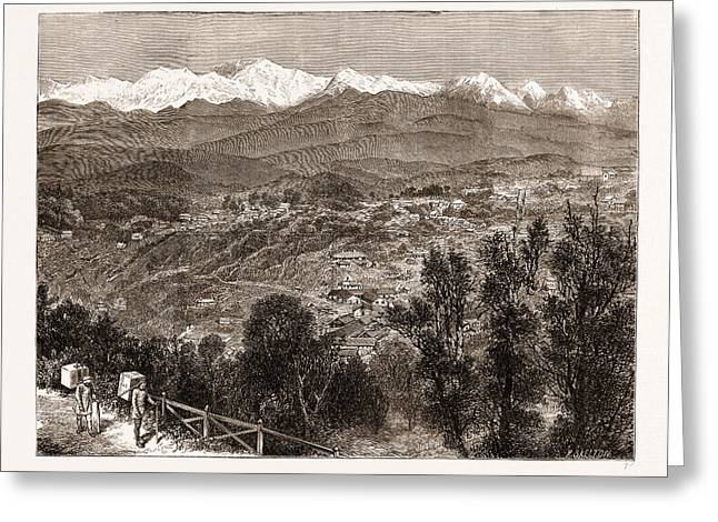 Tea Cultivation In British India View Of Darjeeling Greeting Card by Litz Collection