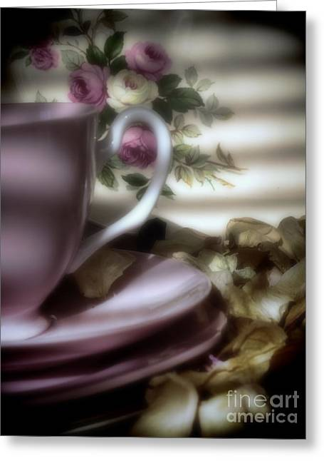 Tea Cups And Roses Greeting Card by Karen Lewis