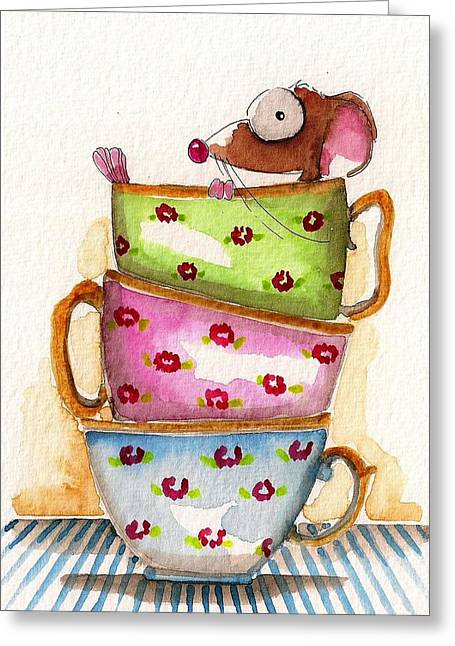 Tea For One Greeting Card by Lucia Stewart