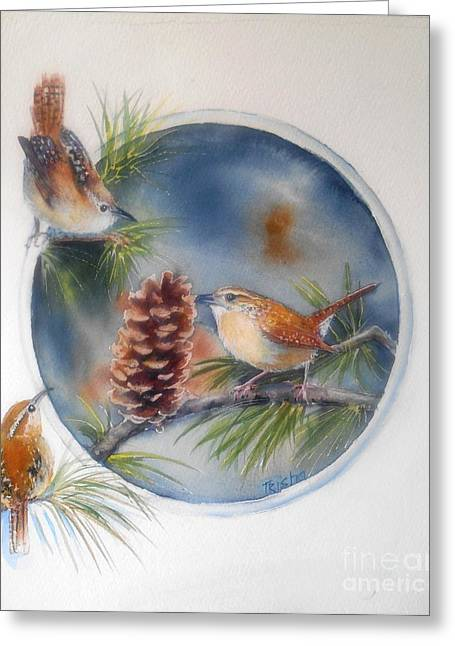 Tea For Three Greeting Card by Patricia Pushaw