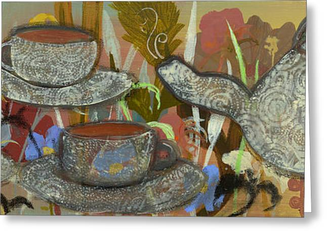 Tea For Three Greeting Card by Robin Maria Pedrero