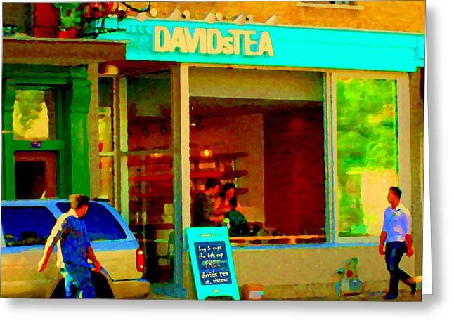 Tea For Two Davids Tea Shop Rue St Viateur Cafe Scene Montreal Restaurants Art Carole Spandau Greeting Card
