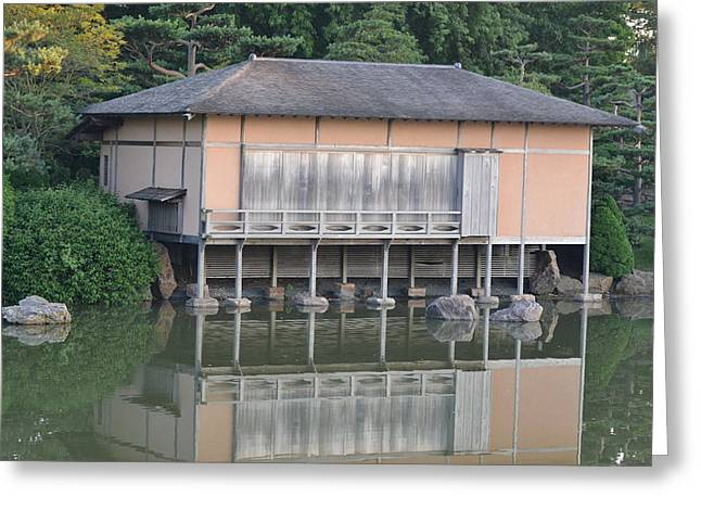 Tea House Reflections Greeting Card by Bill Mock
