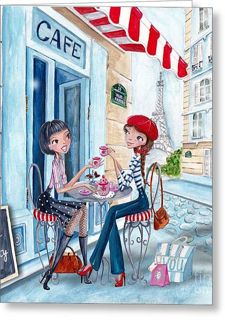 Tea In Paris Greeting Card by Caroline Bonne-Muller