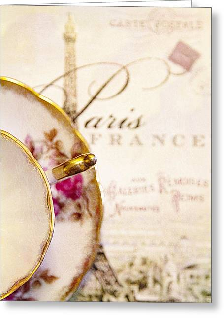 Tea In Paris Greeting Card by Rebecca Cozart