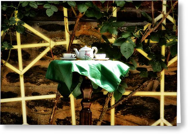 Tea In The Backyard Greeting Card by Bill Cannon