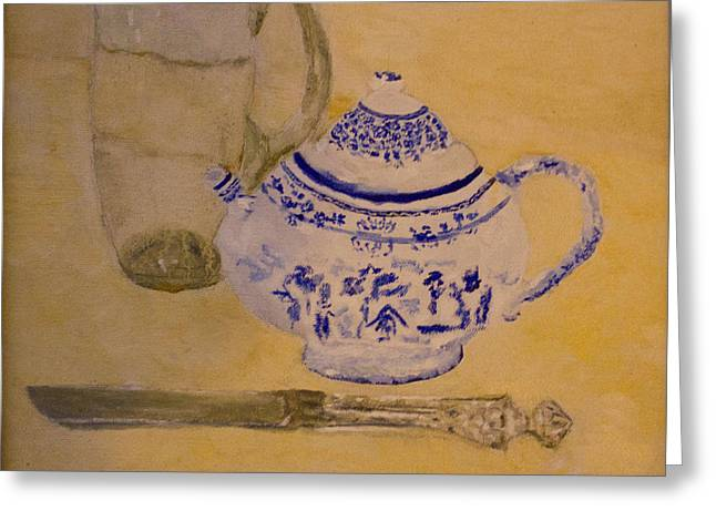 Greeting Card featuring the painting Tea Kettle by Aleezah Selinger