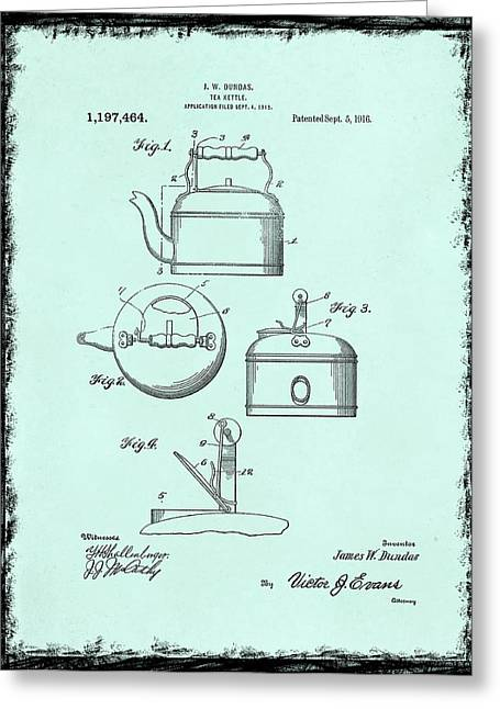 Tea Kettle Patent 1916 Greeting Card by Mark Rogan