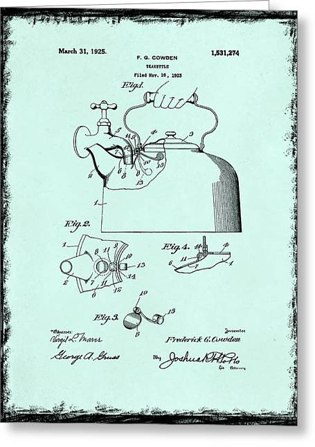 Tea Kettle Patent 1923 Greeting Card by Mark Rogan
