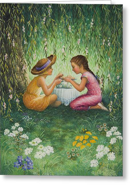 Tea Party Greeting Card by Lynn Bywaters