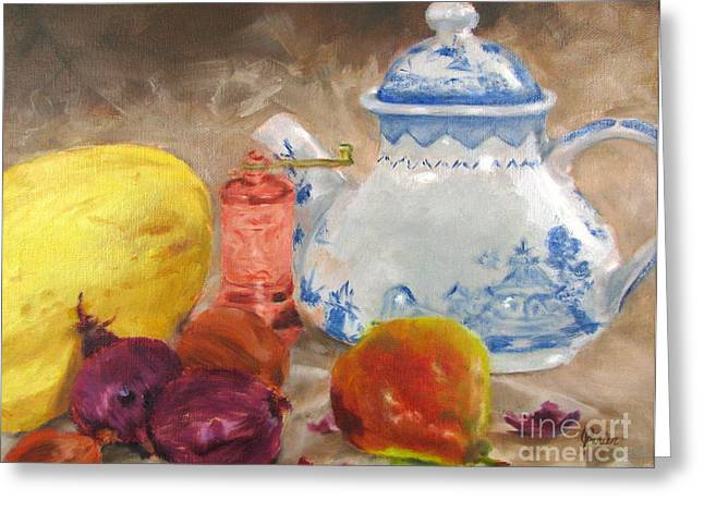 Tea Pot And Spice Grinder Greeting Card