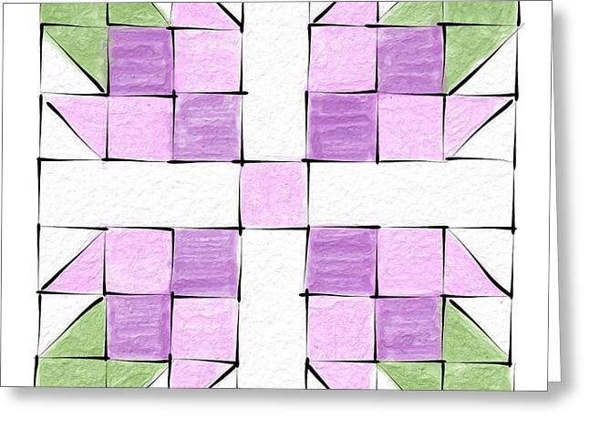 Tea Rose Quilt Block Greeting Card
