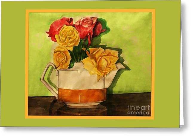 Tea Roses Bordered Greeting Card
