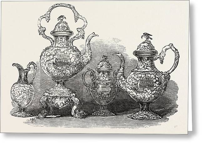 Tea Service Of Californian Gold Greeting Card by Messrs. Ball, Thompson, And Black, English, 19th Century