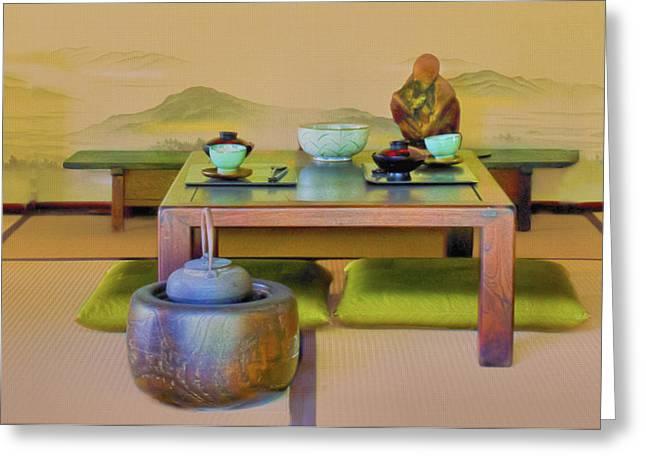 Tea Setting Greeting Card by Joseph Hollingsworth