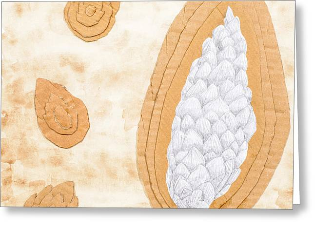 Tea Stained Pine Cones Greeting Card by Amanda Elwell