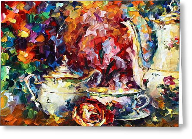 Tea Time 2 Greeting Card by Leonid Afremov