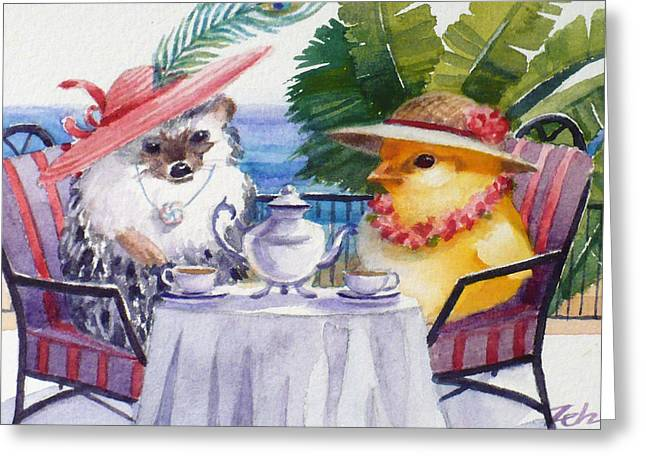 Tea Time For A Baby Chick And Hedgehog Greeting Card