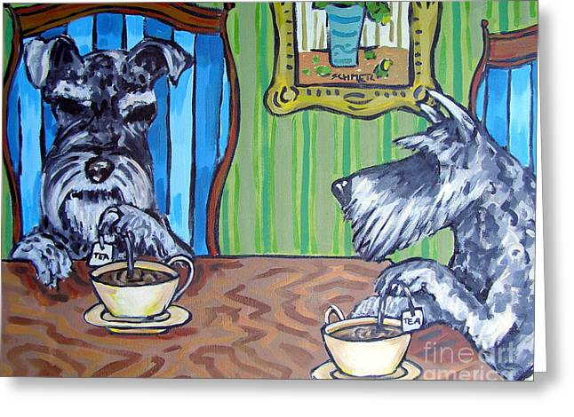 Tea Time For Schnauzers Greeting Card by Jay  Schmetz