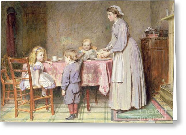 Tea Time Greeting Card by George Goodwin Kilburne