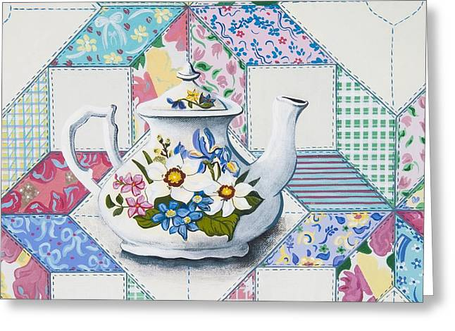 Greeting Card featuring the painting Tea Time by Jennifer Lake