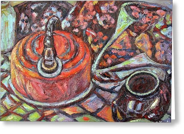 Tea Time Greeting Card by Kendall Kessler