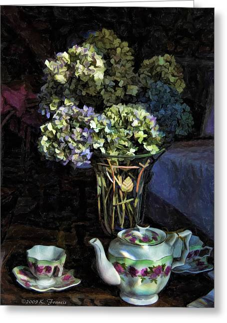 Tea Time Greeting Card by Kenny Francis