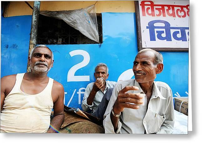 Tea Time Greeting Card by Money Sharma