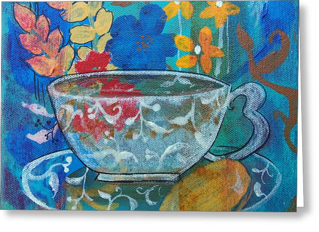 Greeting Card featuring the painting Tea With Biscuit by Robin Maria Pedrero