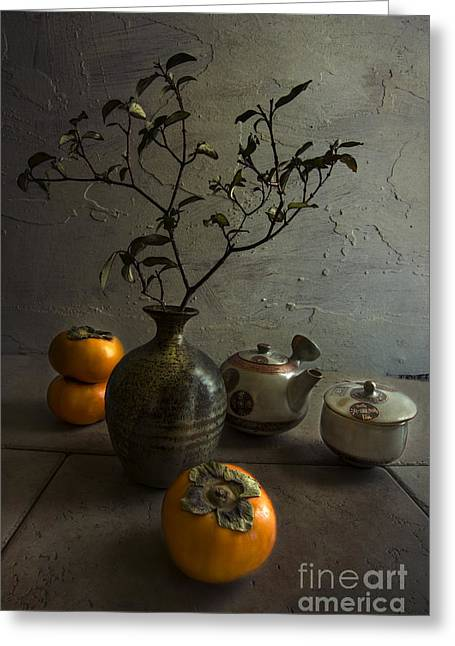 Tea With Persimmons Greeting Card