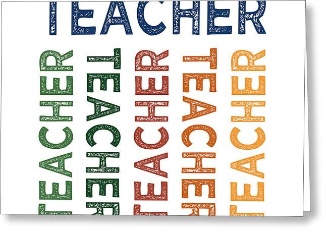 Teacher Cute Colorful Greeting Card by Flo Karp