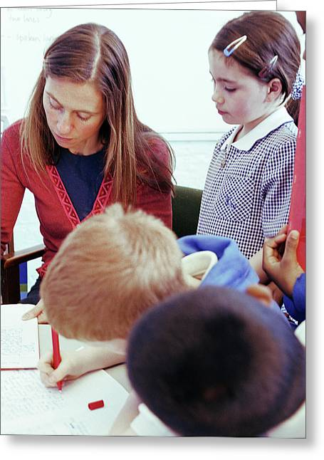 Teacher Marking Work Greeting Card